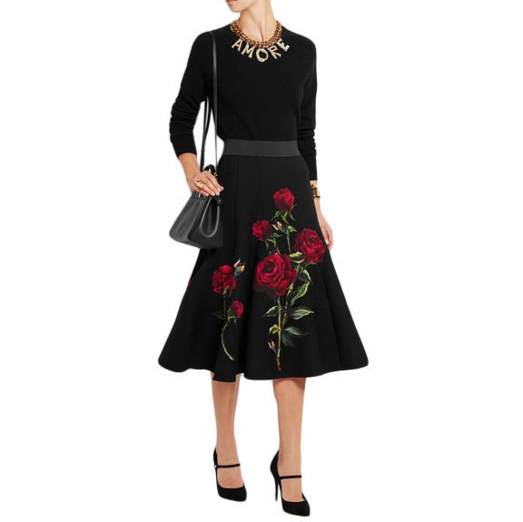 Dolce & Gabbana Rose Print Wool Midi Skirt