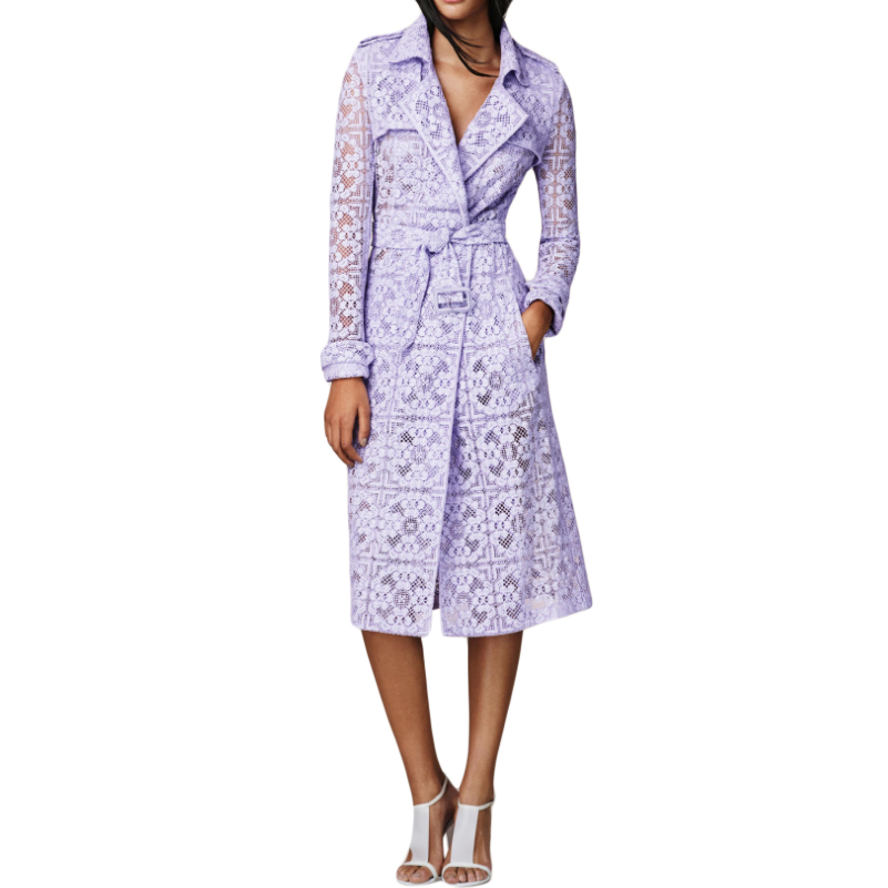 Burberry Lavender Floral Lace Trench Coat