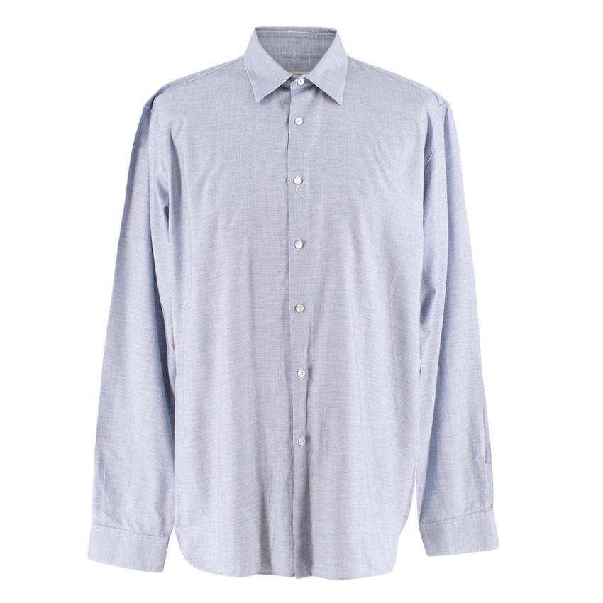 Burberry Blue Button-up Mens Shirt