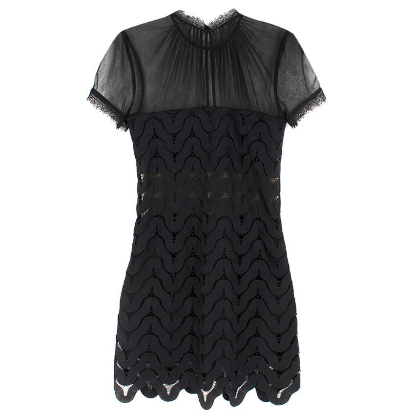 Self Portait Black Chiffon & Guipure Lace Mini Dress