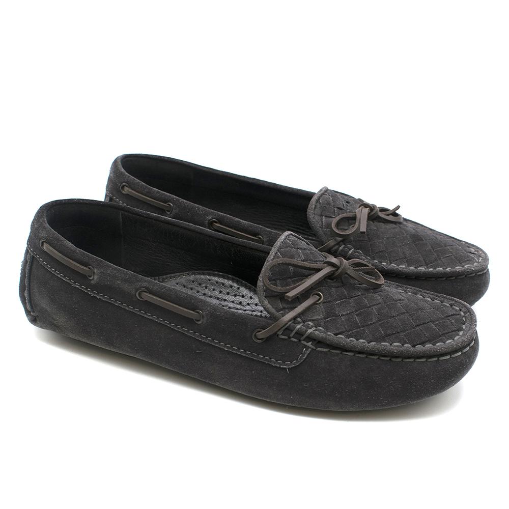 Bottega Veneta Dark Grey Intreciatto Suede Loafers
