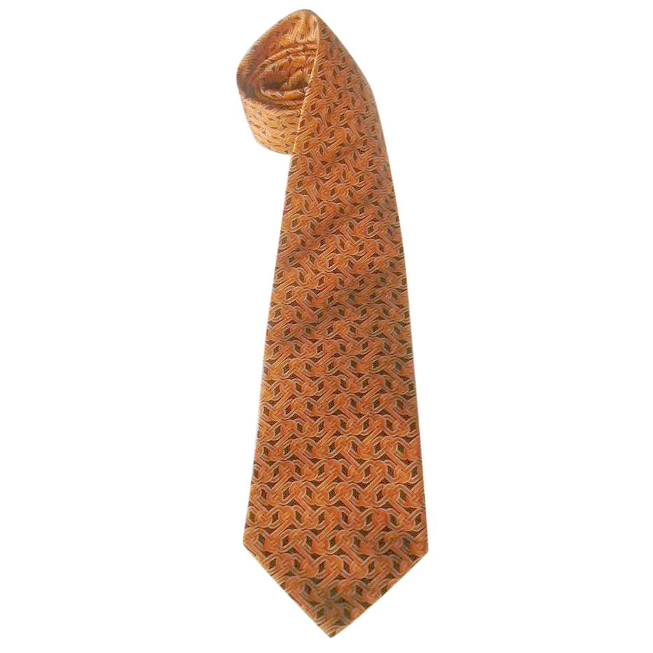 Balenciaga Chain Print Orange Silk Tie