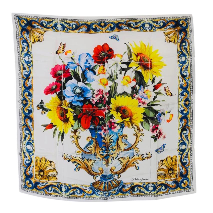 Dolce & Gabbana Sicily Vase Print Silk Scarf