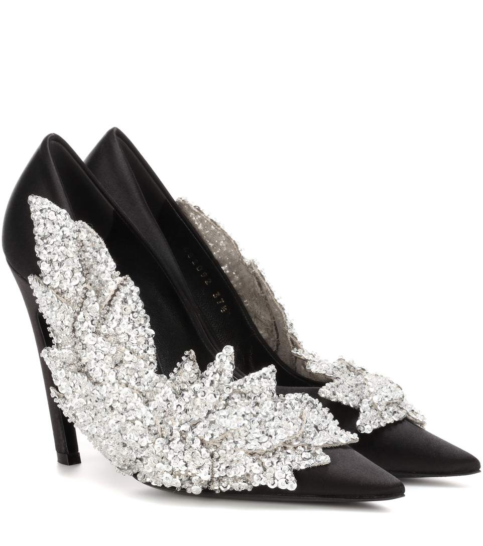 Balenciaga Black Slash Sequin pumps