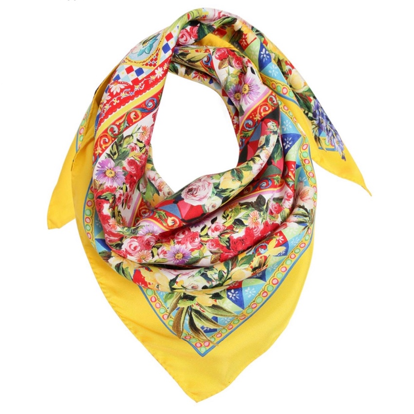 Dolce & Gabbana Yellow Printed Majolica Silk Scarf