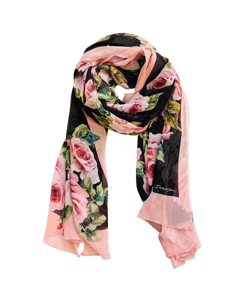 Dolce & Gabbana Rose & Butterfly Print Silk Printed Scarf