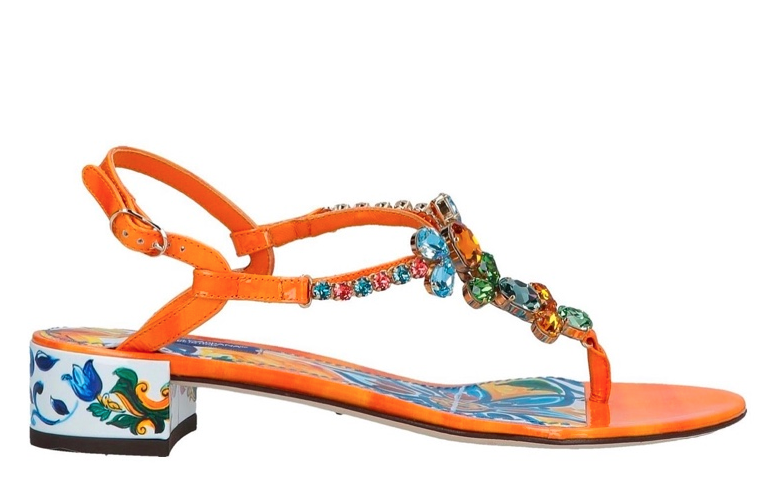 Dolce & Gabbana Orange Sicily Print Crystal Sandals