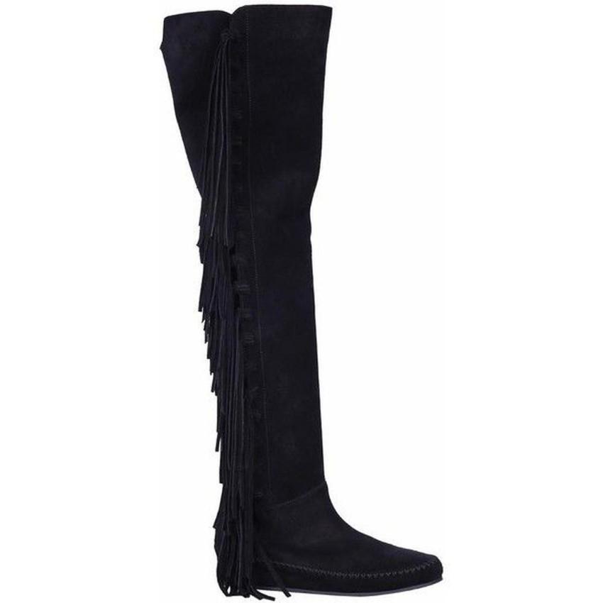 Etro Black Suede Fringed Boots