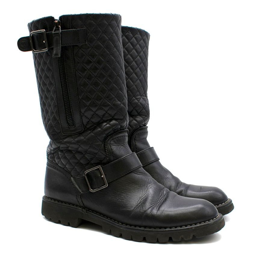 Chanel Black Buckle Front Quilted Leather Biker Boots