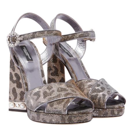 Dolce & Gabbana Silver Leopard-Print Keira 105 Sandals