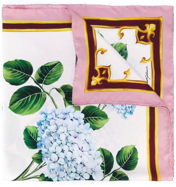 Dolce & gabbana silk hydrangea print scarf