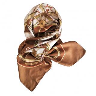 Hermes Carriage Print Silk Scarf 90