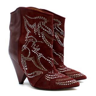 Isabel Marant Burgundy Embellished Lance Boots