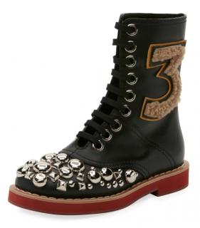 Miu Miu Studded Lace-Up Leather Boots