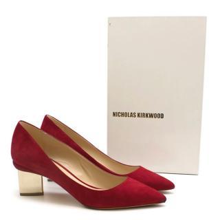 Nicholas Kirkwood red suede mirror heel pumps