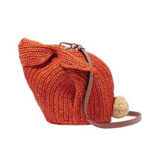Loewe Bunny mini leather-trimmed raffia shoulder bag