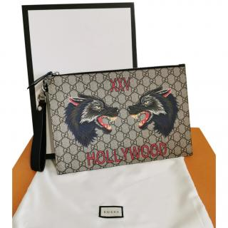 Gucci Monogram Wolf Head Pouch