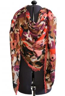 Furla Camo Poppy Print Modal Cashmere Blend Scarf