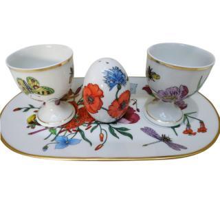 Gucci Floral Porcelain Egg CUp & Salt Shaker Set