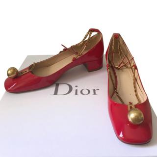 Dior Red Diormotion Patent Pumps