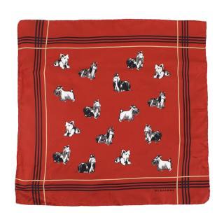 Burberry Red Dog Motif Silk Scarf