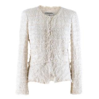 Chanel White Metallic Tweed Knit Jacket