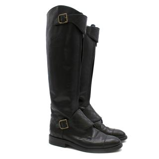 Chanel Black Leather CC Quilt Long Riding Boots