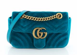 Gucci Marmont Blue Velvet Bag