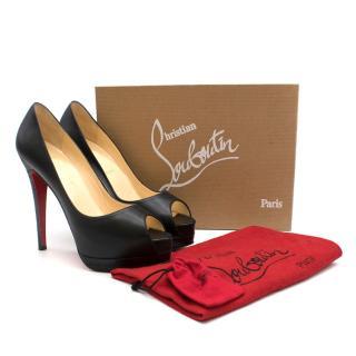Christian Louboutin Black Altadama Peep Toe Platform Heels