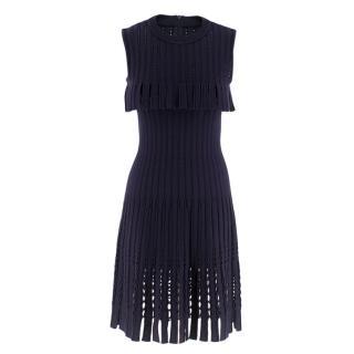 Alaia Purple Sleeveless Wool Knit Dress