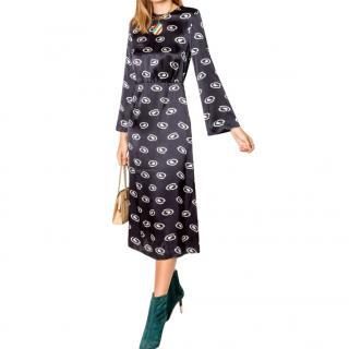 Rixo Black & White Silk Printed Dress