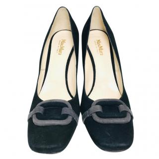 Max Mara Black Suede Sahara Pumps