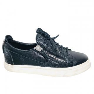 Giuseppe Zanotti black leather zip detail sneakers