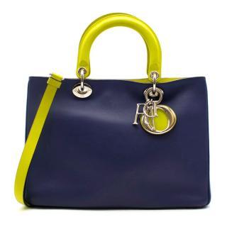 DIor Blue & Green Satin Finish Diorissimo Tote Bag