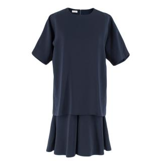 Brunello Cucinelli Navy Wool Double Layer Dress