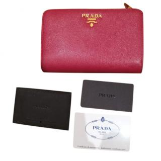 Prada Pink Saffiano Leather Wallet