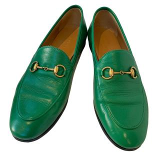 Gucci Green Leather Jordaan Loafers