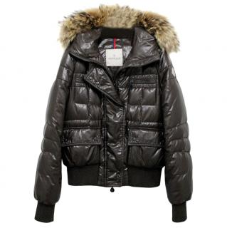 Moncler Georgia Black Jacket With Raccoon Fur Trim