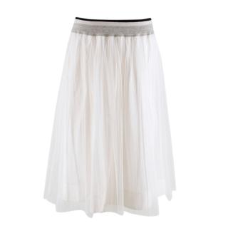 Brunello Cucinelli White Pleated Tulle Skirt