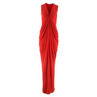 Alexander McQueen Red Draped Sleeveless Gown
