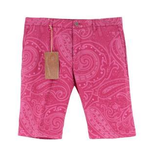 Etro Pink Cotton Paisley Printed Shorts