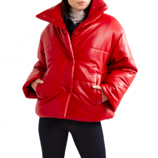 Nanushka red hide oversized quilted vegan leather jacket