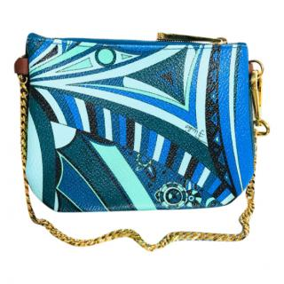 Pucci Blue Printed Chain Crossbody Bag