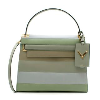 Valentino Green Striped My Rockstud Top Handle Bag