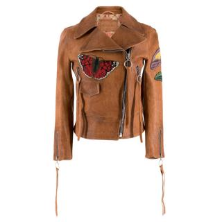 Gucci Poppy Embroidered Leather Biker Jacket
