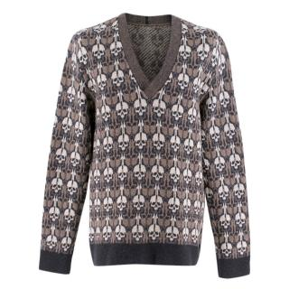 Alexander McQueen Brown Skull Print V-neck Sweater