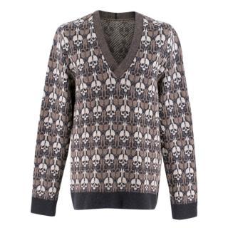 Alexander McQueen Brown Skull Print V-neck Sweater