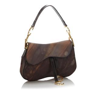 Dior Printed Double Saddle Bag