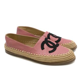 Chanel Pink Leather CC Espadrilles