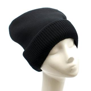 Prada Black Thick Wool Beanie